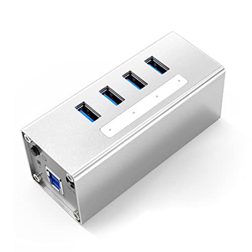 TWDYC Aluminio 4 Puerto USB3.0 Splitter USB Hub Support BC1.2 Carga con Adaptador de alimentación de 12V2A para Accesorios para PC Laptop (Color : Silver)