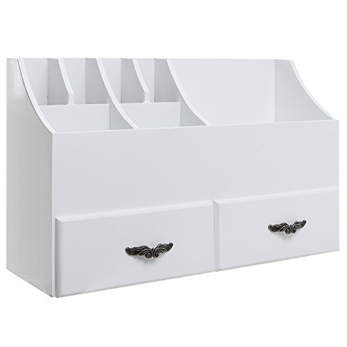 MyGift White Wood Cosmetics Organizer/Makeup & Beauty Accessories Storage Rack with Drawers