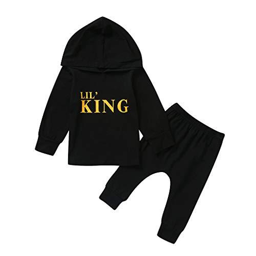 Moneycom❤ Letra infantil bebé bebé camiseta con capucha + pantalones de camuflaje Negro 3-4 Años