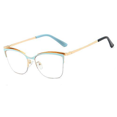 JJZXT Cómodo y Fuerte Marco Metal Eyewear, Superligero Montura Gafas cuadradas Ovalada, Moda Sencillez Montura Gafas de Media Marcos, for niños,Damas, Hombres,Azul