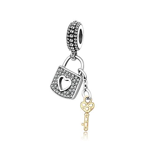 Auténtica Pandora 925 Cuentas De Plata Esterlina Diy Lock Key Jewelry Fit Original Europa Charm Bracelet Bangle Para Mujeres Love Gift Berloque Whole