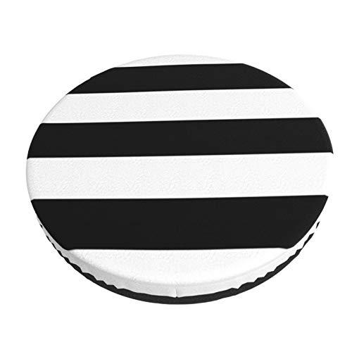Decams Funda de cojín redonda para taburete de bar con diseño de rayas náuticas, color blanco y negro, para cocina, bar, oficina, comedor