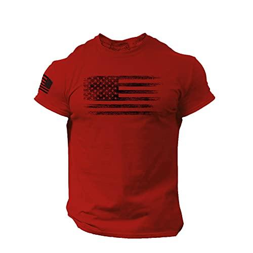 Camiseta de manga corta para hombre, diseño de bandera estadounidense con cuello redondo, manga corta, camiseta básica C_rojo M