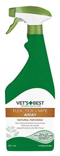 Vet's Best Flea Tick and Mite Flea Treatment Spray for Dogs, 500 ml
