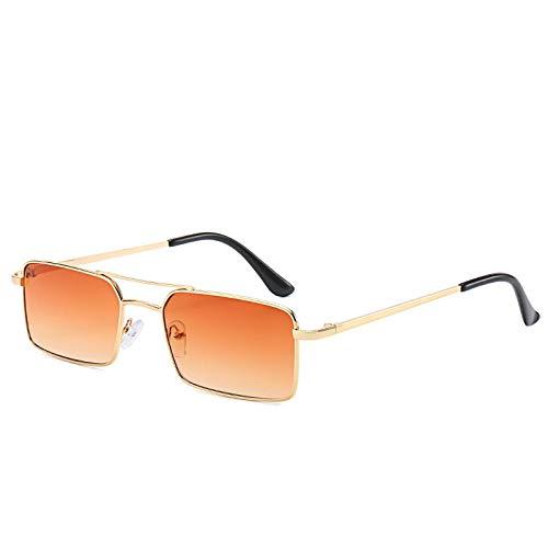 FENGHUAN Gafas de sol cuadradas delujo paramujer, hombre, moda, lente transparente, aleación, rectángulo, gafas de sol Vintage, marco pequeño, GoldTea