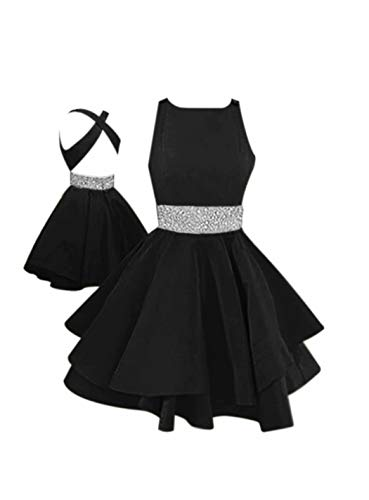 LeoGirl Womens Open Back Fit And Flare Short Prom Dress With Waist s Party Dress