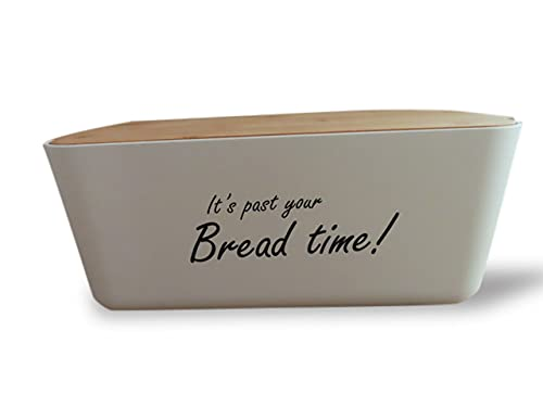 Bread Box for Kitchen Countertop | Bread Box White Storage Container Compliments Counter Décor | Bread Box Farmhouse Holder is Large | Lid is a Natural Bamboo Bread Cutting Board| Homemade Food Keeper