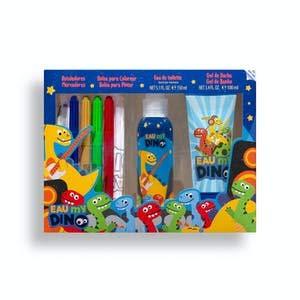 Lote infantil My Dino contiene eau de toilette 150 ml, gel de ducha 100 ml, 4 rotuladores y bolsa merienda para colorear