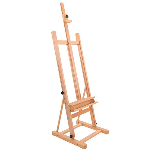 "U.S. Art Supply Medium Wooden H-Frame Studio Easel with Artist Storage Tray - Mast Adjustable to 96"" High, Holds Canvas to 48"" - Sturdy Beechwood Holder Floor Stand - Display Paintings, Portraits"