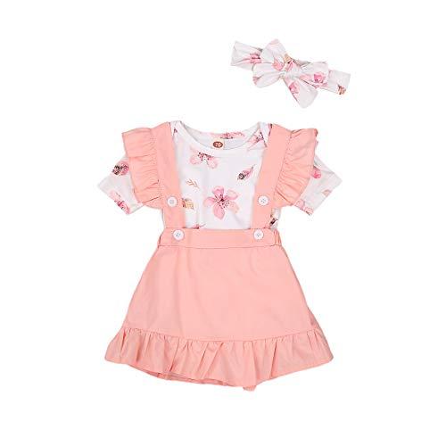 Geagodelia Bekleidungssets Baby Mädchen Outfits Sommer Kleidung Mädchen Set Top+Rock Sommer (Rosa A, 0-3 Monate)