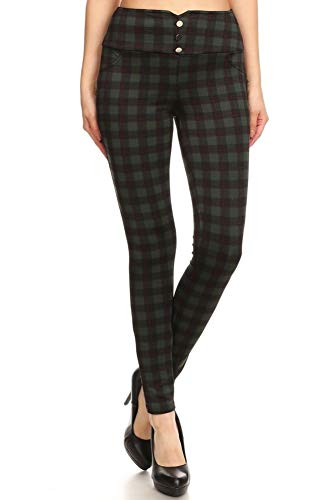 ShoSho Womens Skinny Pants Slim Fit Trousers Dressy Leggings Treggings with Button Waist Detail Plaid Print Green/Red Large