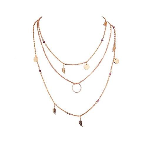 Toamen Collar Para Mujer Irregular De MúLtiples Capas Colgante De Cadena De Oro Collar De La DeclaracióN (A)