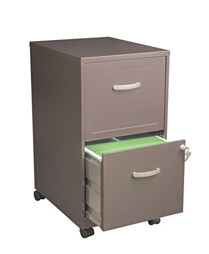 Office Dimensions 18' Deep 2 Drawer Letter-Sized Mobile File Cabinet, Chocolate Brown