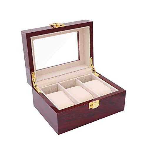 M I A Caja organizadora de reloj con 12 ranuras para guardar relojes, pulsera de joyería, caja de regalo para tienda en casa (color como se muestra, tamaño: 16,5 x 12,5 cm)