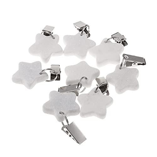 Freebily 4/8 Stück Tischdeckenklammern Edelstahl Tischdeckenbeschwerer aus Naturstein Tischdeckenhalter Tischdeckengewichte mit Stahlclips maximale Klemmkraft Herzform E Weiß 8 Pcs