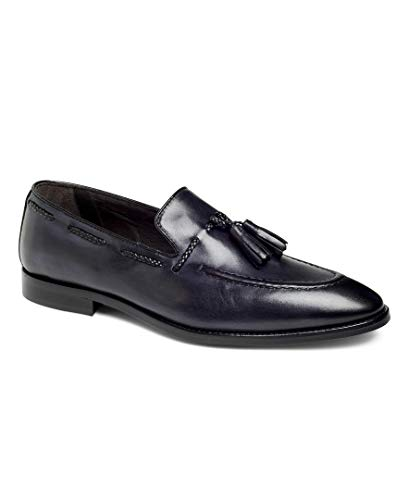 Anthony Veer Johnson Tassel Loafer Slip-on Dress Shoes in Premium Italian Leather Blake Stitched Made in Italy for Formal, Business, Causal, Special Occasion (10.5 D US, Graphite)