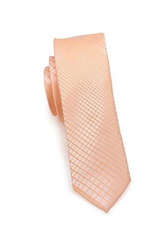 PUCCINI schmale Krawatte│6cm skinny slim Tie, Binder, Schlips│einfarbiges modernes, trendiges Muster in Orange (Peach)