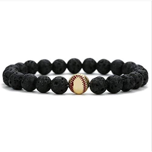 LCXZMA Baseball Schwarz Vulkanischer Lavastein Perlen Aromatherapie Ätherisches Öl Diffusor Armband Energie Reki Yoga