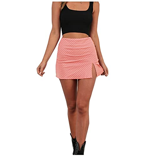 DRAGONHOO Women's School Uniform Mini Skirts Women's Casual Lattice A-line Skirt and Split Skirt Mini with Lining Short Night Out Skirt Pink