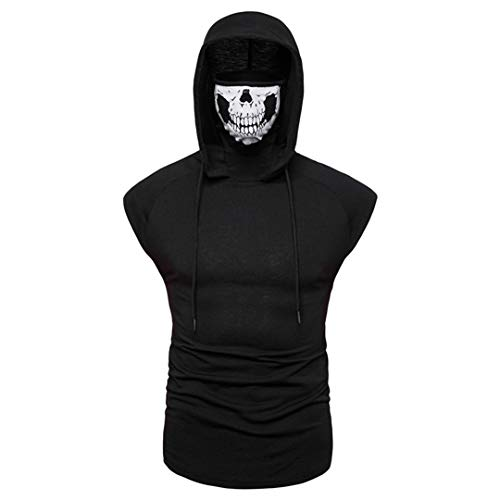 Summer Men\'s Stretch Ninja Tops Call of Duty Ghost Mask Hooded Sleeveless T-Shirt Personality Trend Solid Color Men\'s Wear (1,XL)