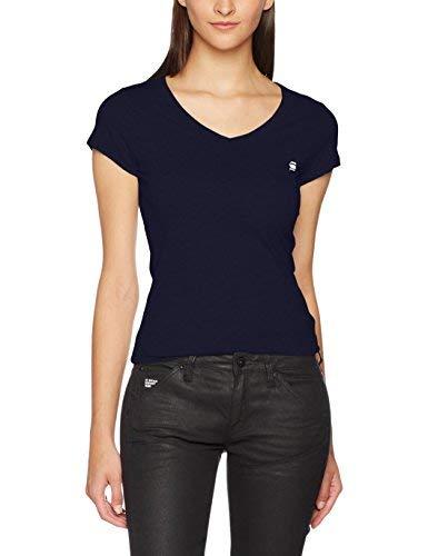 G-STAR RAW Eyben V-Neck Slim Camiseta, Mujer, Azul (Sartho Blue), S