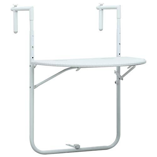 Festnight Table de Balcon Blanc 60x64x83,5 cm Plastique Aspect de rotin