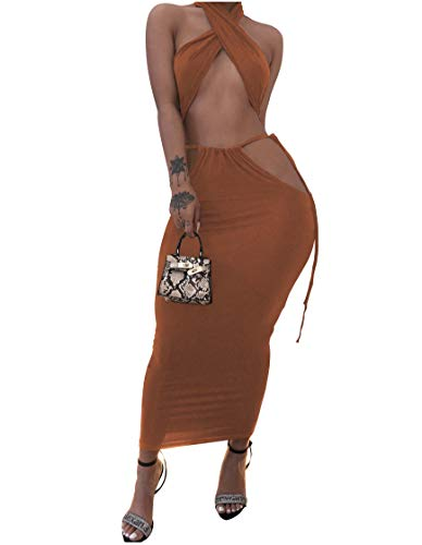 XLLAIS Womens Sexy 2 Piece Dress Outfits Multi-Wraped Halter Crop Tops Bandage Bodycon Skirts Sets Clubwear (Large, Caramel)