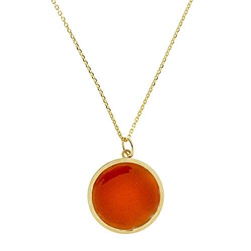 Córdoba Jewels halsketting van 925 sterling zilver, verguld en oranje email. Design cirkel nagellak oranje goud
