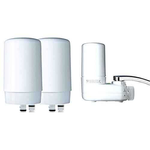 Brita Basic Replacement Water Filters, White, 2 Count & Basic Faucet Water Filter System, White, 1 Count - 35214