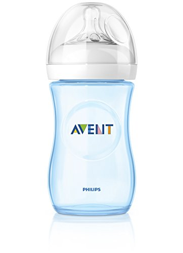 Philips AVENT Natural – Biberón tetina de flujo lento (260 ml, 1 mes plus, azul, pack de 2)