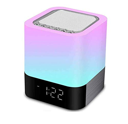 Nachttisch Lampe 5 in 1 LED Schreibtischlampe mit Bluetooth Lautsprecher Digital Kalender Wecker 7 Farben Touch Control Night Light Unterstützt TF und SD-Karte, Beste Geschenk für Kinder und Freunde