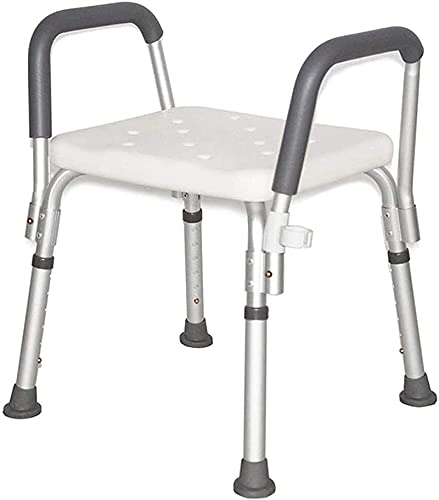 Banco de transferencia de asiento acolchado, silla de ducha Taburete de ducha Taburete de ducha de aluminio ancianos antideslizantes antideslizante Taburete de altura ajustable con reposabrazos