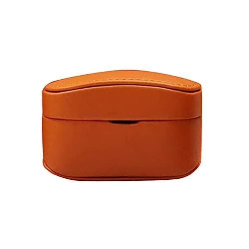 イヤホンケース・SONY WF-1000XM4用 ソニー ワイヤレス ヘッドホン ケース PUレザー ス 保護カバー シンプル おしゃれ 傷つき防止 ケース 保護ケース(オレンジ)