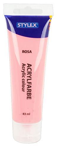Stylex 28699 - Acrylfarbe auf Wasserbasis, 83 ml Tube in rosa, matt, hohe Deck- und Farbkraft, lichtbeständig, schnelltrocknend und wasserfest