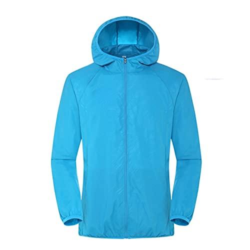 UPF 50 chaqueta de protección solar con bolsillos, chaqueta de cortavientos casuales ligera, manga larga transpirable, cremallera con capucha para hombres y mujeres ( Color : Dark Blue , Size : 3XL )