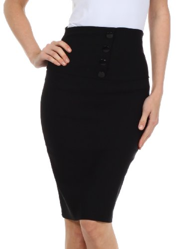 Sakkas IMHighButtonI-9415 Petite High Waist Stretch Pencil Skirt with Four Button Detail - Black/M
