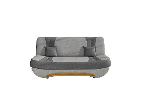 Sofa mit Schlaffunktion und Bettkasten, Couch für Wohnzimmer, Schlafsofa Federkern Sofagarnitur Polstersofa Wohnlandschaft mit Bettfunktion - Feba (Hellgrau + Dunkelgrau (Sawana 21 + Sawana 05))