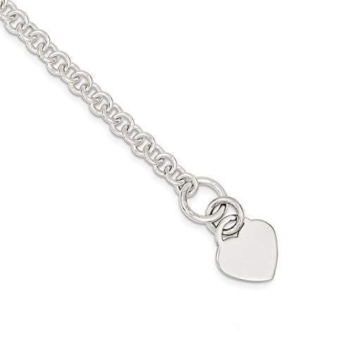 Pulsera de plata de ley 925 con cierre de palanca grabable, con corazón pulido, regalo para mujer, 23 cm