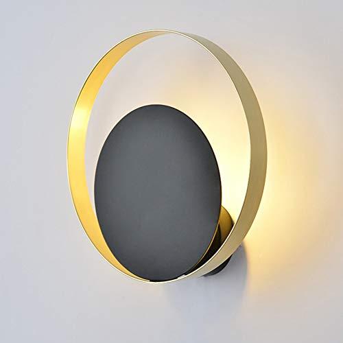 Moderne led-wandlamp, moderne led-wandlamp, goud/zwart, rond, creatieve badkamerspiegel, lamp, trapgang, slaapkamer, nachtwandlamp