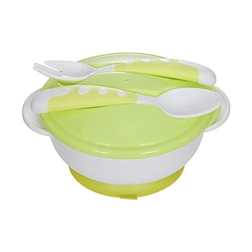Platos para Bebes,Vajilla Infantil Silicona Removable Anti-Drop Spoon Fork, Cuenco Bebe Anti-Spill Botes Comida Bebe Adsorption Cuenco Antivuelco Self-Eat