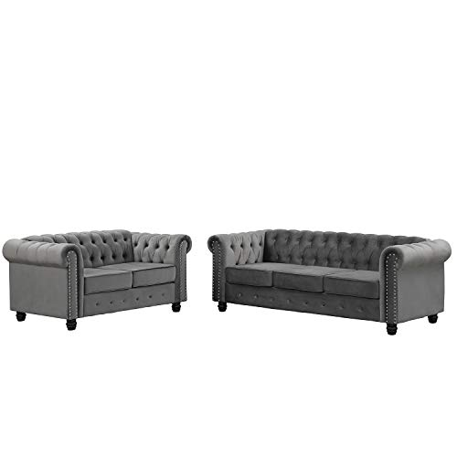Morden Fort Modern Contemporary 2 Piece of Loveseat and Sofa Set with Deep Button Tufting Dutch Velvet, Solid Wood Frame and Wood Legs- Light Grey
