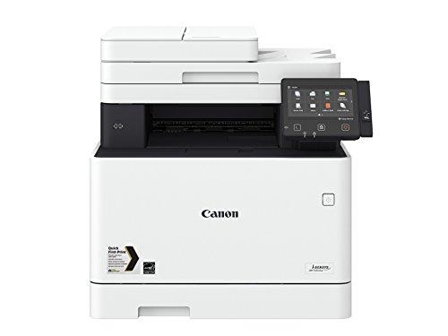 Canoni-SENSYS MF734Cdw; Farblaser-Multifunktionssystem (Drucken, Kopieren, Scannen, Faxen); bis 27 Seiten/Min. (DIN A4); 12,7 cm-LCD-Farbtouchscreen; USB 2.0 Hi-Speed, Ethernet, Wireless 802.11b/g/n