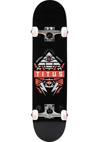 TITUS Skateboards-Complete Pyramid, Black-orange, 7.625, Komplett Board, 7 Schichten Ahornholz, bereits fertig montiert, Skateboard für Jugendliche, Erwachsene, Anfänger, Profis, Mädchen und Junge