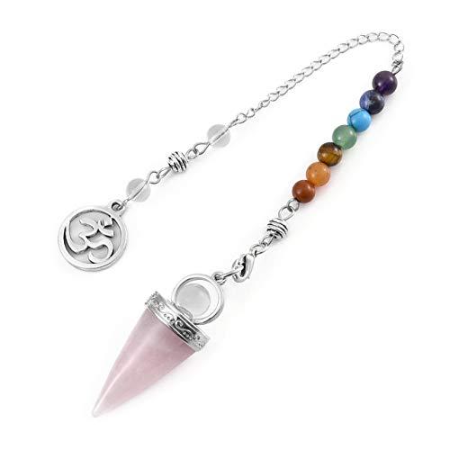 Péndulo de cristal de amatista natural para curación de 7 chakras con cristales de punta, para adivinación, reiki, curación, terapia de cristales