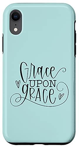 iPhone XR Grace upon grace, teal black, christian gift JLZ061 Case