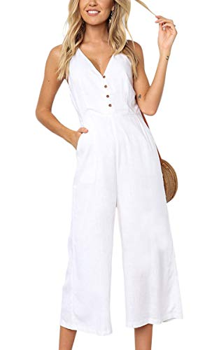ECOWISH Womens Jumpsuits Casual Button Deep V Neck Sleeveless High Waist Wide Leg Jumpsuit Rompers 103White Small