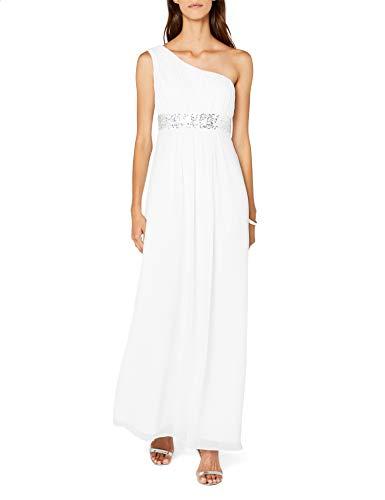 Astrapahl Damen Kleid One Shoulder mit Pailletten, Maxi, Einfarbig, Gr. 38, Weiß