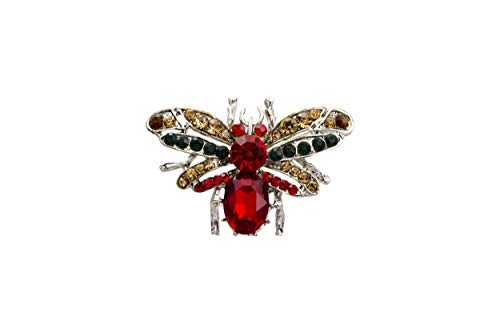 Knighthood Silver Base Bee with Red Semi Precious Stone with Black and Champagne Swarovski Detailing Brooch/Lapel Pin