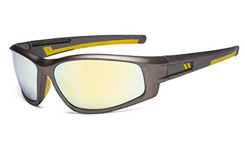 Eyekepper Bifocal zonnebril voor sport TR90 buiten zonneschijn lezer +1.00 Gold Spiegel