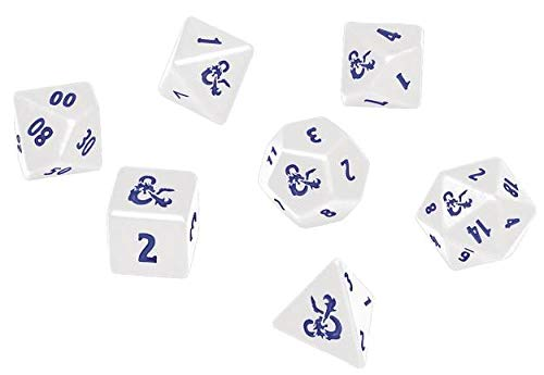 D&D RPG Icewind Dale: Heavy Metal Poly White and Blue Dice Set
